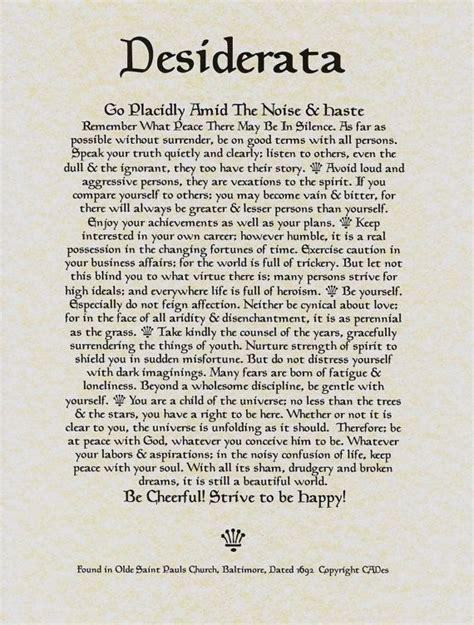 desiderata poem 11 x 14 poster on fine parchment paper