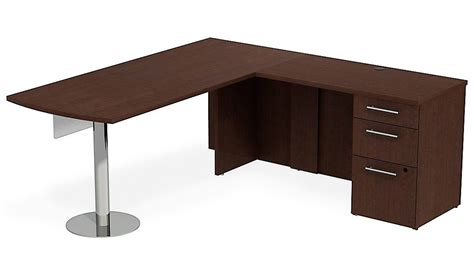 Office Desk Configurations Bbf Realize Peninsula Desk In L Configuration Glass Modesty Panel Pedestal Zuri Furniture