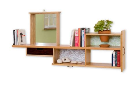 recycled bookshelf with built in mirror and planter digsdigs
