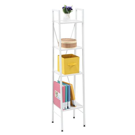 ladder 4 tier bookcase storage rack display stand shelf