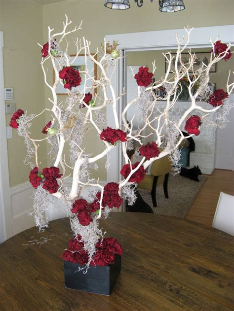 Crimson Carnation And Manzanita Tree Centerpiece Tim White Manzanita Tree Centerpiece