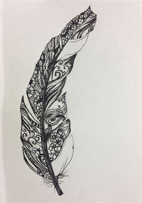 tattoo pen and paper drawings of feathers google search look at this