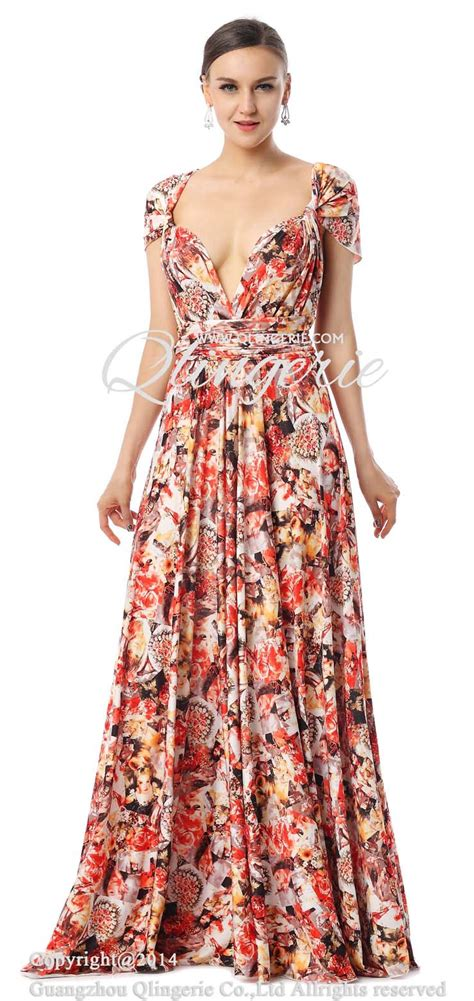 Floral Floor Length Dress 2017 changeable a line waist floral knit floor length evening dress f30001
