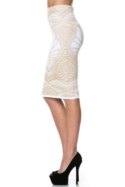 aztec pencil skirt white 183 stylo clothing and shoes