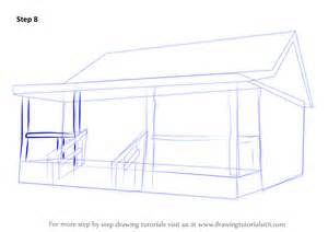 learn how to draw a wood cabin houses step by step