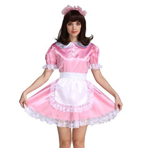 locking sissy clothing sissy girl maid satin locking pink satin dress costume
