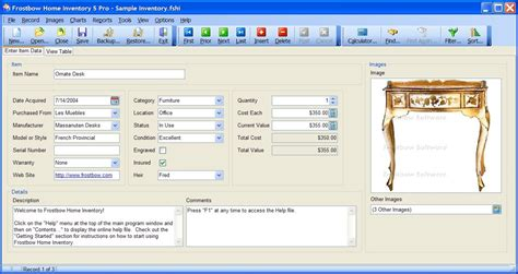 template inventory household software