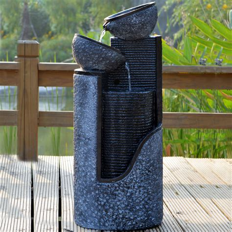 Solar Powered Water Features With Led Lights Solar Pillar And Bowls Water Feature With