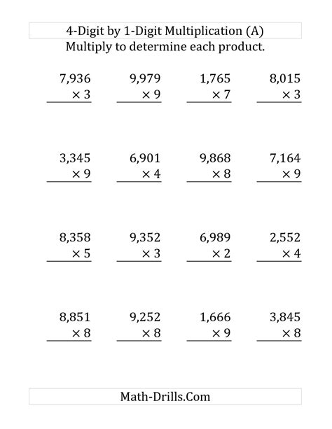 Math Digit Multiplication Worksheets by 11 Best Images Of 1 Digit Multiplication Worksheets