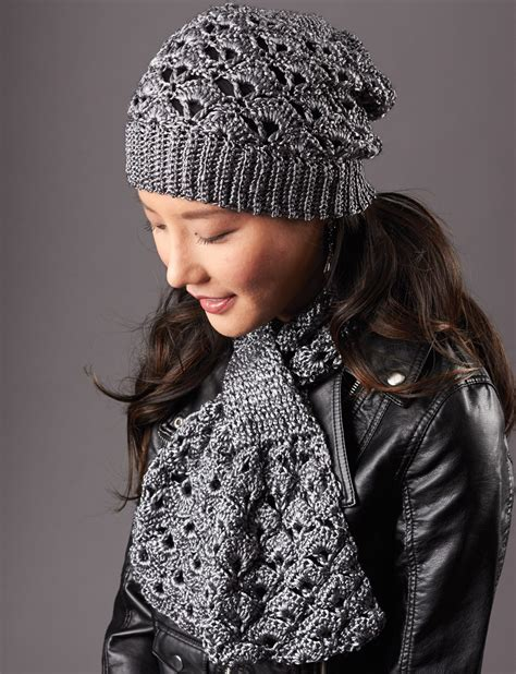 patons silver screen hat and scarf crochet pattern