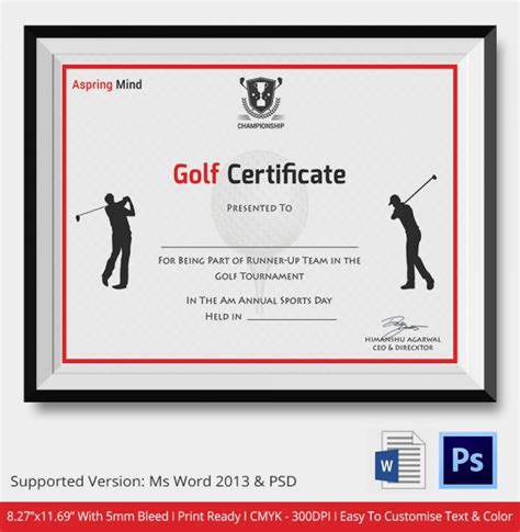 golf certificate template 5 word psd format download