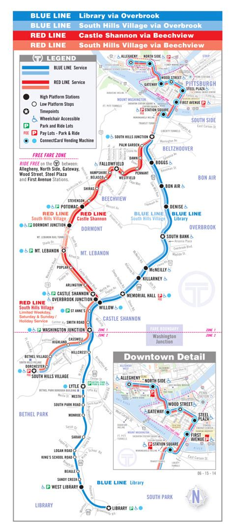 pittsburgh subway map the t pittsburgh metro map united states