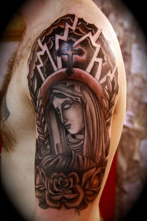 jesus tattoo sleeve designs religious sleeve tattoos design ideas for and