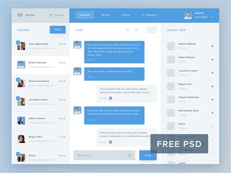 chat app template hi chat psd template free psds sketch app resources