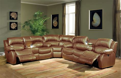 Sectional With Recliner Leather Sectional Sofa With Recliners In Brown Plushemisphere