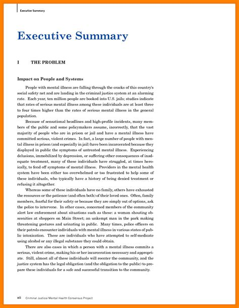 executive summary template update 69646 executive summary format exle 38