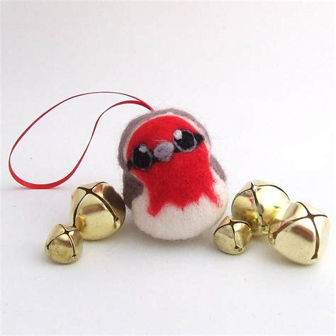 needle felted robin christmas decoration by