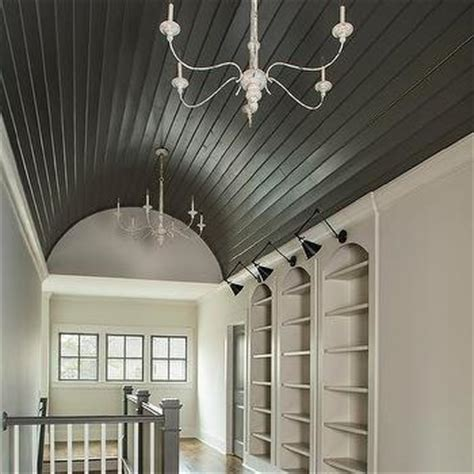black barrel hallway ceiling with shiplap trim cottage entrance foyer