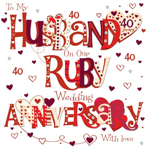 Anniversary Nisadas by Husband Ruby 40th Wedding Anniversary Greeting Card