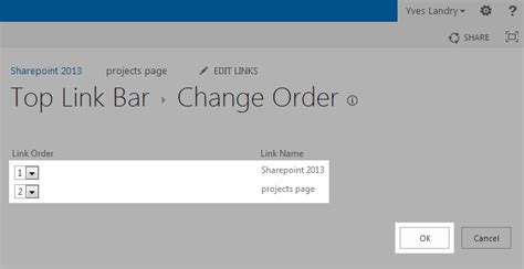 sharepoint top link bar how to change the order of the items on the top link bar