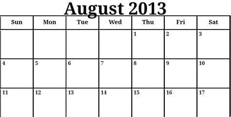Calendar August 2013 August 2013 Printable Calendar 187 Calendar Template 2017