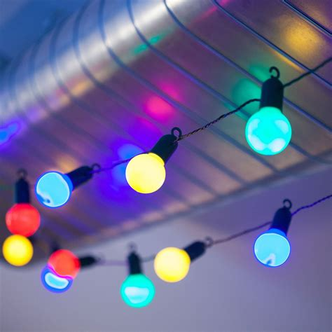 Outdoor Large Bulb String Lights 20 Multi Colour Led Large Bulb String Lights Timer Garden Indoor Outdoor