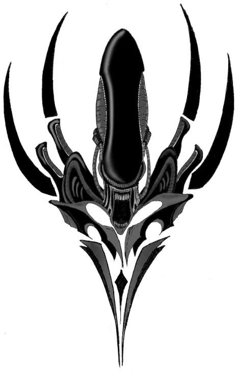 tribal xenomorph tattoo aliens and predators design by