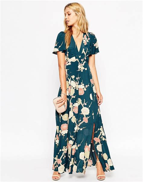 Flower Maxy asos asos wedding maxi dress with wrap front in floral