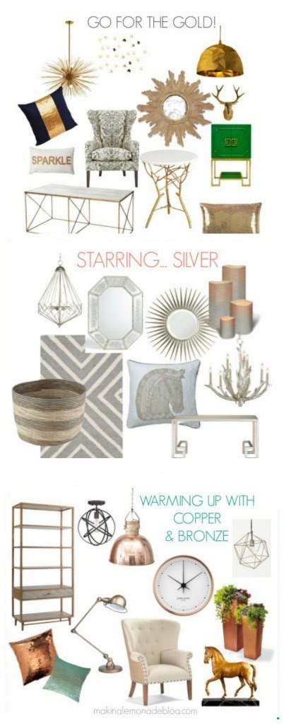 mixing silver and gold home decor go for the gold and silver bronze copper making lemonade