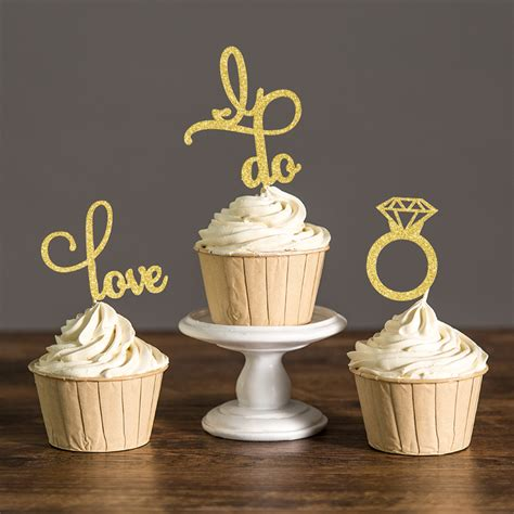 cupcake decorating supplies for bridal shower gold silver or black glitter engagement cupcake toppers
