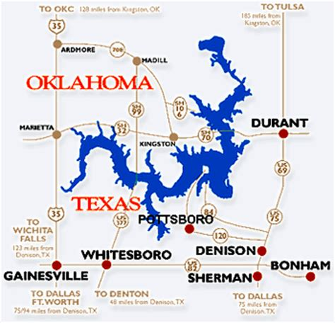 texoma texas map lake texoma texoma council of governments