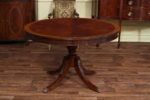 54 Round Pedestal Dining Table With Leaf High End Mahogany Dining Table In A Walnut Finish 48 To 66