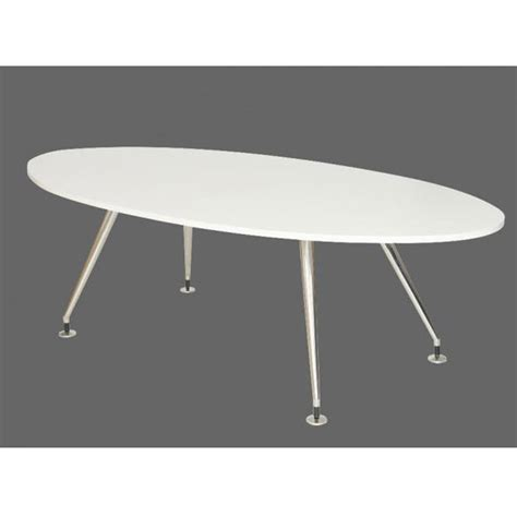 White Oval Meeting Table White Oval Meeting Table On Chrome Four Legged Frame White Boardroom Table Table On