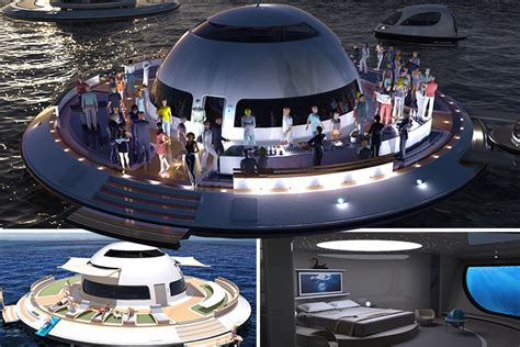 floating boat house ufo this incredible ufo shaped houseboat is a floating home