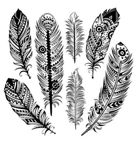 feather tattoo vector set of ethnic feathers vector 1330424 by transia on