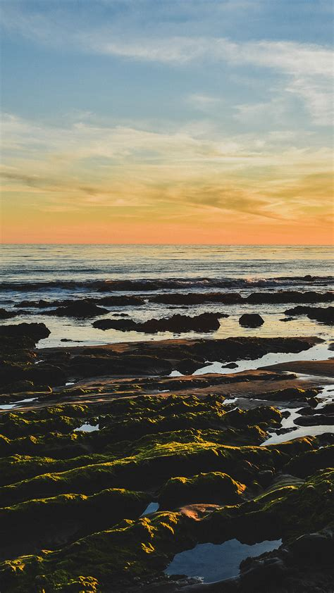 mv ocean sea water sky sunset afternoon nature papersco