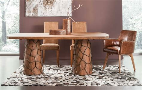 Metal Wrapped Dining Table Enchanting Solid Wood Meets Metal Kare Usa