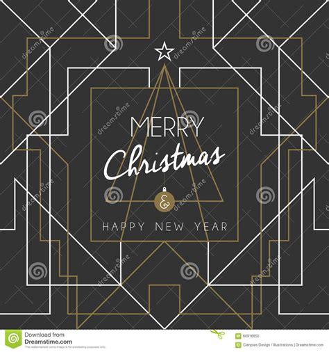 merry christmas happy new year tree art deco line stock