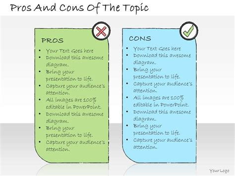 pros and cons matrix template 1013 business ppt diagram pros and cons of the topic