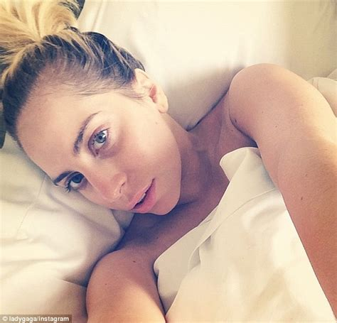 sexy bed selfie lady gaga shares rare makeup free selfie while lying in