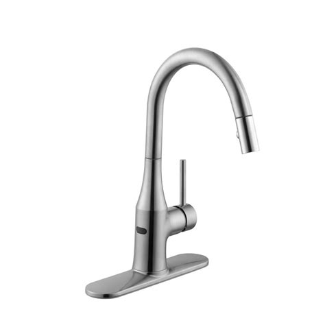 modern kitchen faucets stainless steel schon modern single handle pull sprayer kitchen faucet in stainless steel 67558 0108d2
