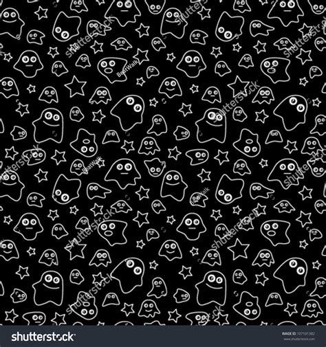 black ghost pattern seamless pattern ghost stars on black stock vector