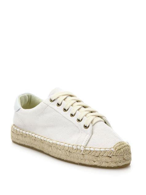 soludos sneakers soludos canvas espadrille platform sneakers in white lyst