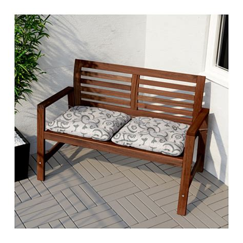 ikea small bench 196 pplar 214 bench with backrest outdoor brown stained ikea