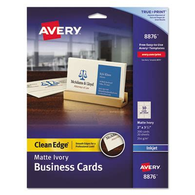 avery clean edge busines cards inkjet template avery 8876 premium clean edge business cards