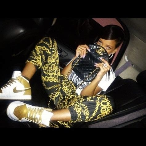 Celana Jogger Brown Gold chain rihanna chanel gold shoes wheretoget