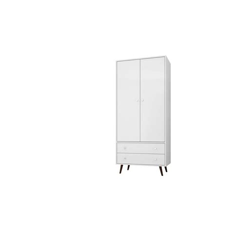 Armoire With Hanging Rod And Drawers Manhattan Comfort Liberty 31 89 In White Mid Century Modern Armoire With 2 Drawers 1 Shelf
