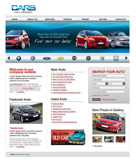 Car Dealer Website Template 20157 Car Dealer Website Template