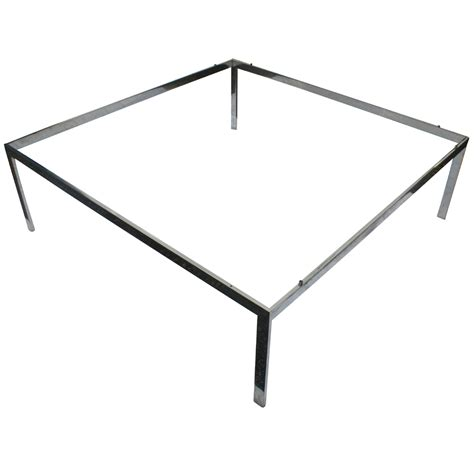 4ft Square Vintage Stainless Steel Coffee Table Base