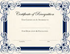 Certificate Template certificate of recognition templates english genie
